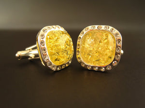 Silver Cufflinks with Yellow Baltic Amber and Zircons for Wedding and Classy Men Dazzling Yellow Vibes front view