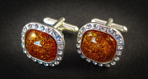 Silver Cufflinks with Zircons and Cognac Baltic Amber for Wedding and Classy Men Sparkling Cognac front view