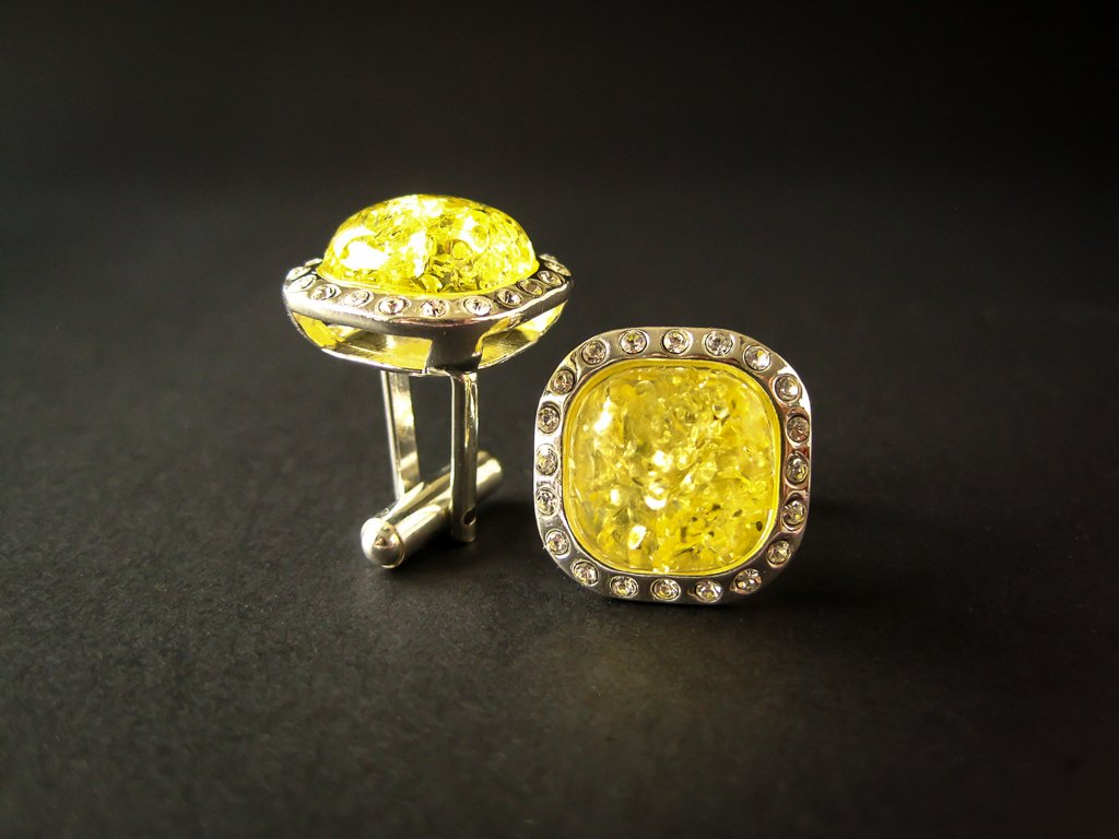 Silver Cufflinks with Yellow Baltic Amber and Zircons for Wedding and Classy Men Dazzling Yellow Vibes side view