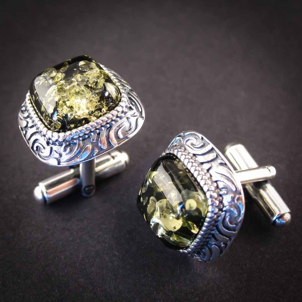 Luxury Silver Cufflinks with Green Genuine Baltic Amber for Wedding and Classy Men, Harmonious Green