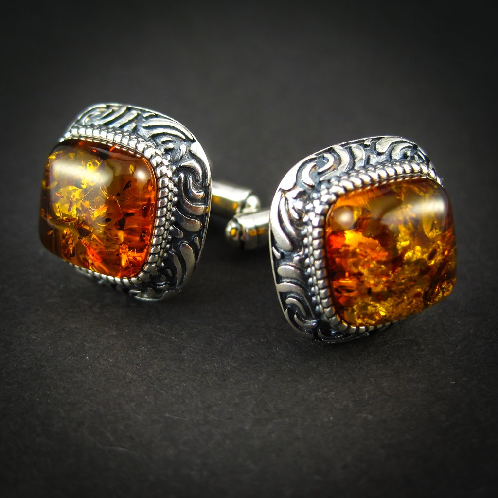 Luxury Silver Cufflinks with Cognac Genuine Baltic Amber for Wedding and Classy Men, Vitalizing Honey