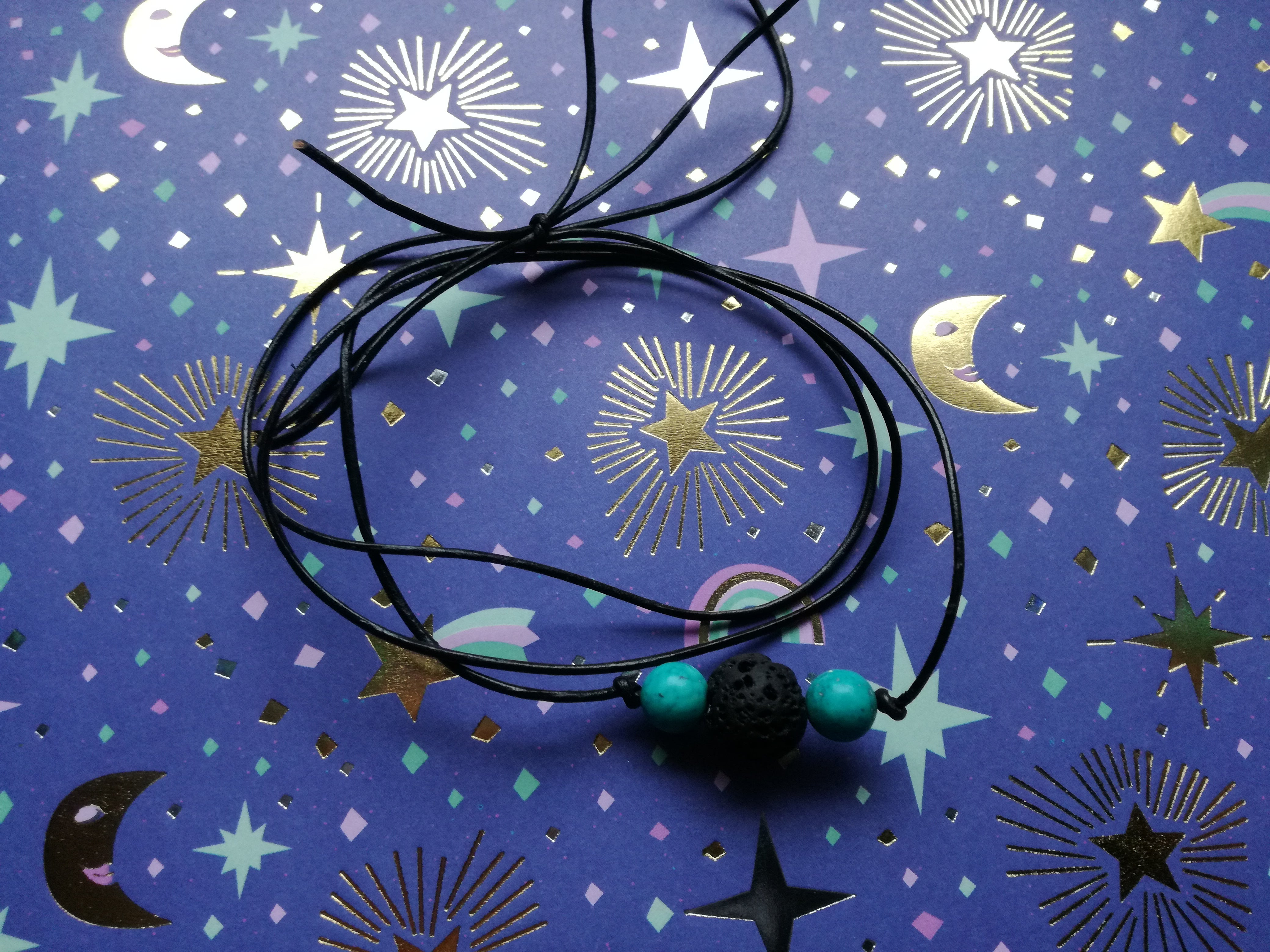 choker necklace black leather cord 2 coloured beads altodiversi free