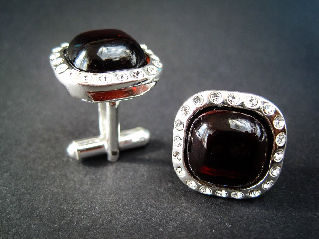 Classy Silver Cufflinks with Zircons and Cherry Genuine Baltic Amber for Wedding , Anniversary, Businessgift, and Elegant Men