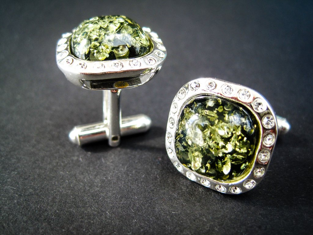Elegant Silver Cufflinks with Zircons and Green Genuine Baltic Amber for Wedding , Anniversary and Classy BusinessMen