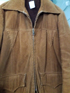 Large Mens Vintage Corduroy Coat 70s Jacket Size L