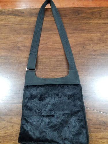 90's Fuzzy Crossbody Bag VTG Handbag Black Fuzzy Purse