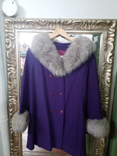 Large Vintage Purple Coat With Faux Fur Trim VTG SEARS