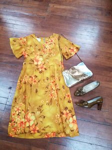 Large Royal Hawaiian Print Dress Mustard Hibiscus Flowers Tiki Spring Dress