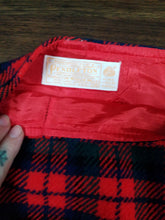 Medium Plaid Pendleton Skirt with Red Satin Lining