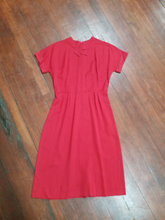Medium 1960s Red Cotton Wiggle Dress Christmas Vintage