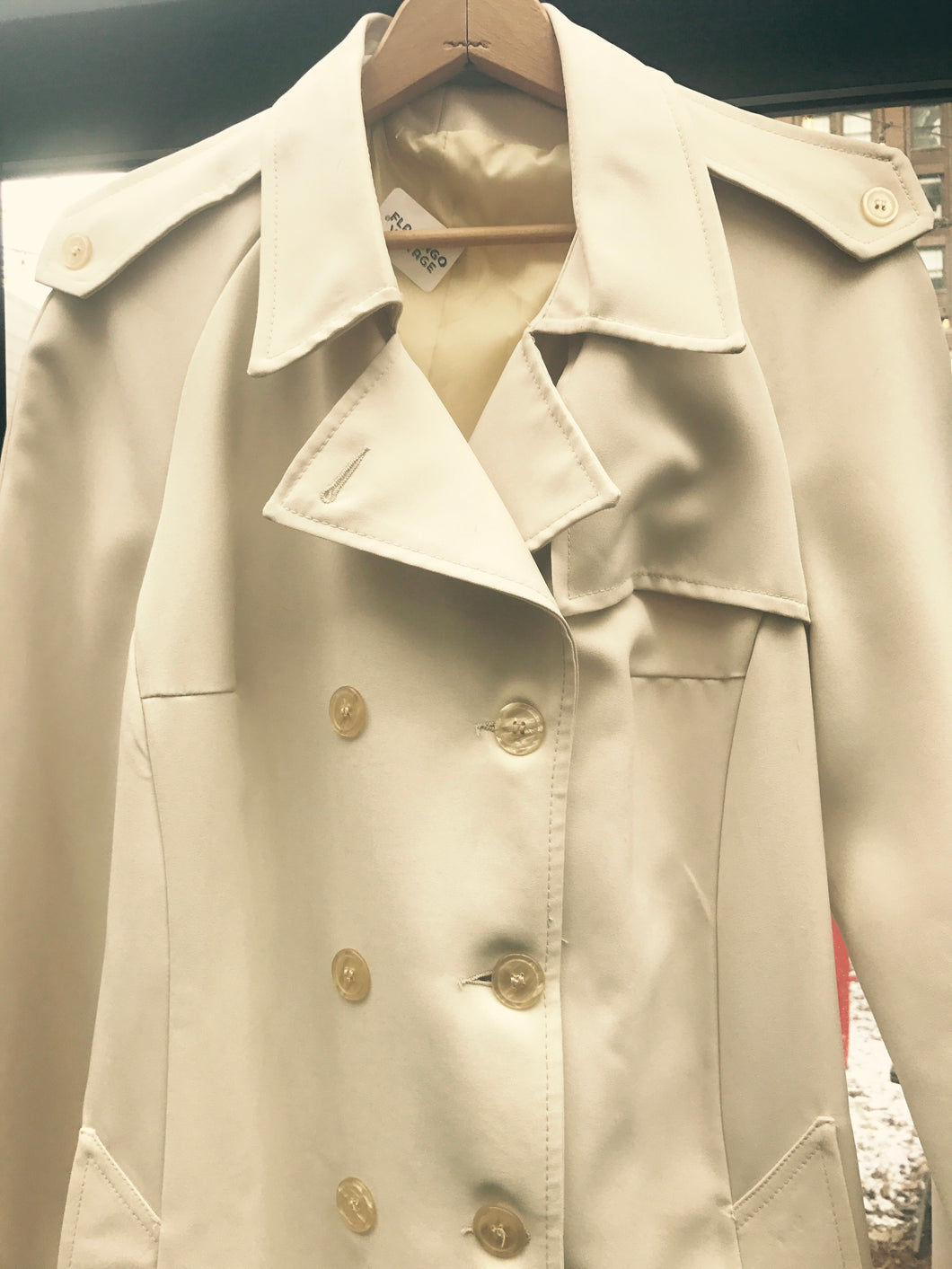 Large vintage gabardine trench coat - vintage women's jacket - tan trench coat