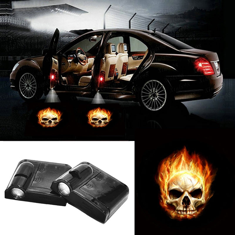 2 X Wireless Car Door LED Projection Fire Skull Projector Shadow Logo Light
