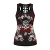 Skull Printed Black Tank Tops Cut outs along Spine