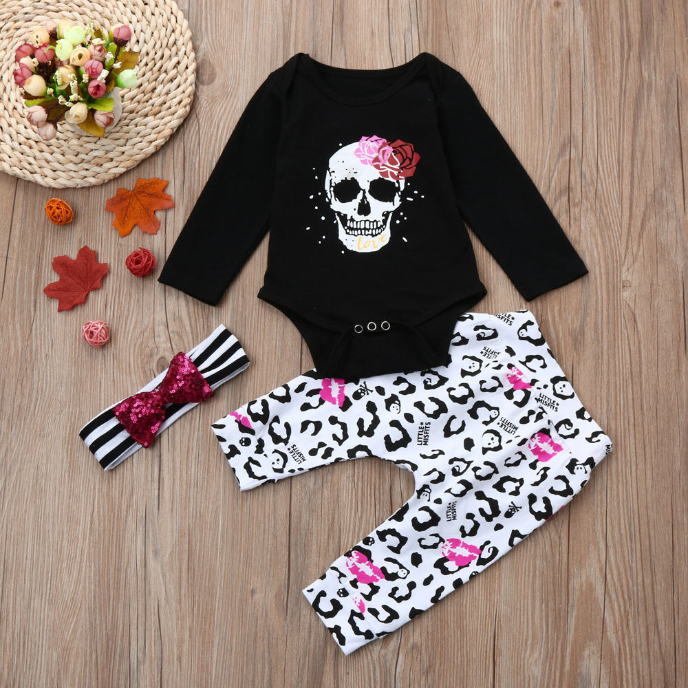 3Pcs Newborn Infant Baby Girls Skull Floral Outfits Clothes Set (Long Sleeve)