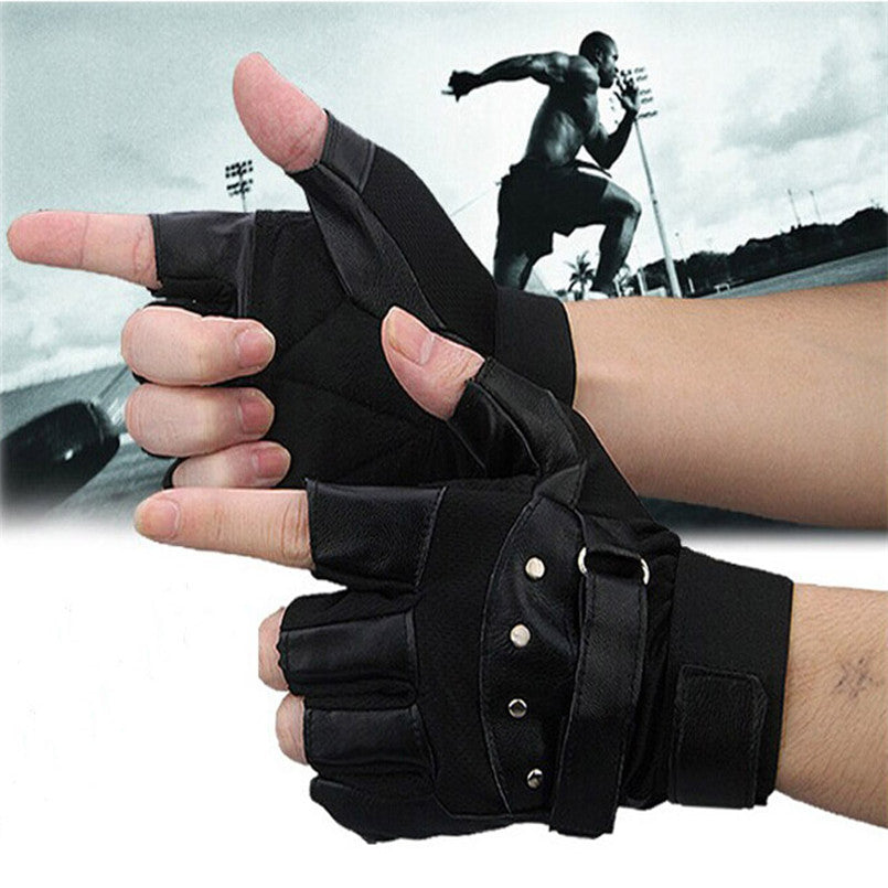 Auto Men Soft Sheep Leather Driving Motorcycle Biker Fingerless Gloves