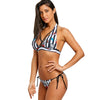 Halter Push Up Swimsuit Skull Stripe Self Tie Bikini Set