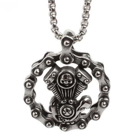 Skull Chain and Engine Necklace (Steampunk Style)