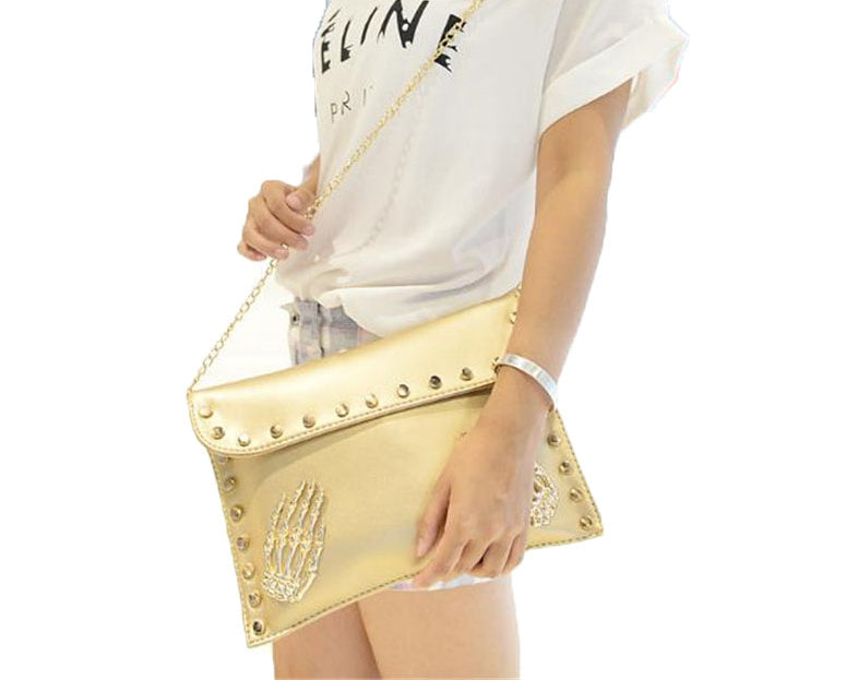 Skull Clutch Envelope Rivet Chain Shoulder bag