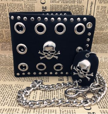 Rivet Goth Skull Head Black  Leather Wallet with Long Chain