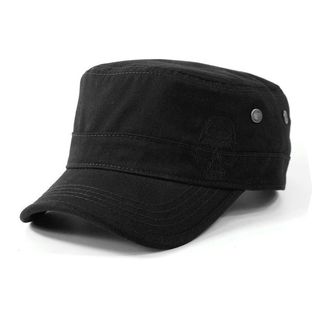 Flat Top Skull Embroidered Hats