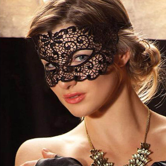 Black Sexy Lace Mask with Cutout Eye for Halloween Party