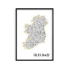 Load image into Gallery viewer, Ireland Typography Map Print