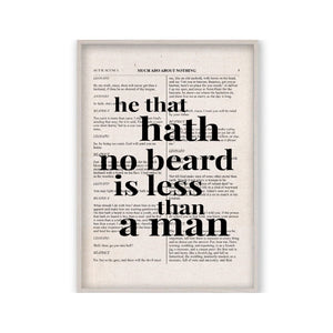 Shakespeare He That Hath No Beard Is Less Than A Man Quote Book Print