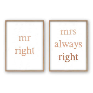 Mr Right Mrs Always Right - Set Of 2 Prints - Blim & Blum