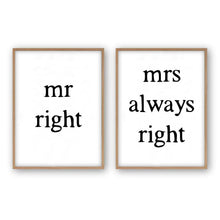 Load image into Gallery viewer, Mr Right Mrs Always Right - Set Of 2 Prints - Blim & Blum