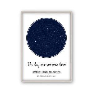 Personalised Stars Day You Were Born Baby Print - Blim & Blum