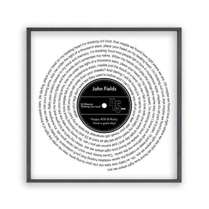 Personalised Favourite Song Lyrics Vinyl Record Print - Blim & Blum