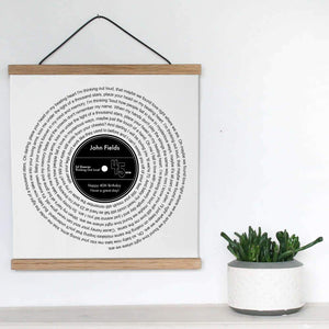 Personalized Favourite Song Lyrics Vinyl Record Print - Blim & Blum