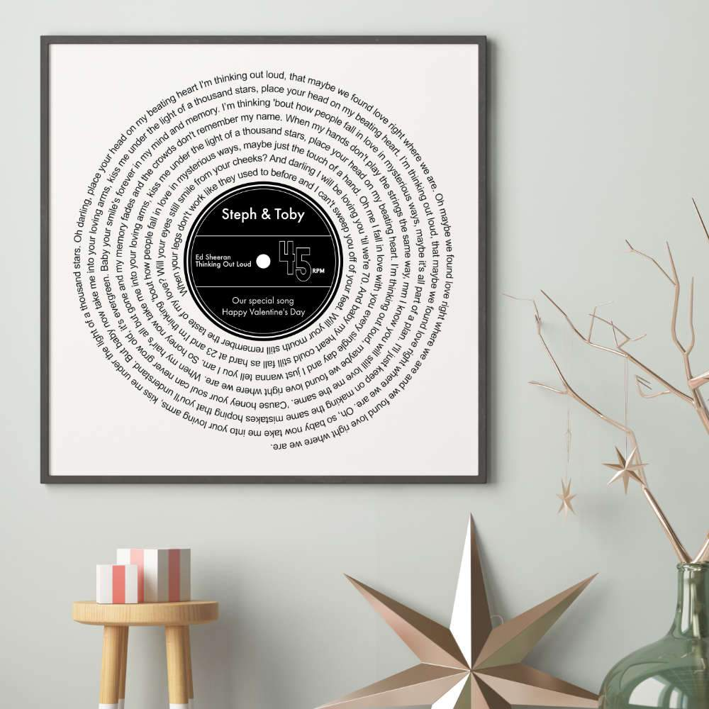 Valentine/'s Day Gift For Him Her Any Song lyrics PERSONALISED Vinyl Record