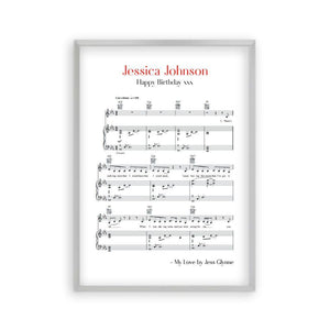 Personalized Favourite Song Music Sheet Notes Print - Blim & Blum