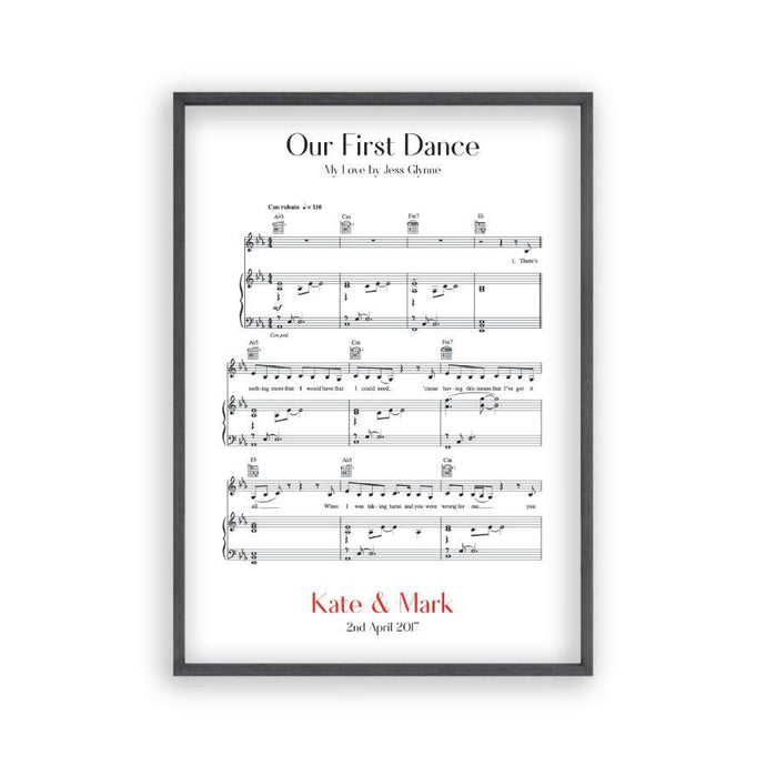 Personalized First Dance Wedding Music Sheet Notes Print - Blim & Blum