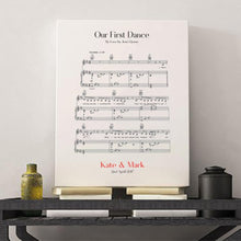 Load image into Gallery viewer, Personalized First Dance Wedding Music Sheet Notes Print - Blim & Blum