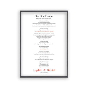 Personalized First Dance Song Wedding Lyrics Print - Blim & Blum
