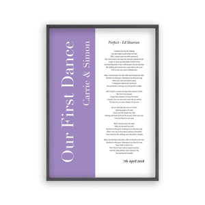 Personalised First Dance Wedding Song Lyrics Music Print - Blim & Blum