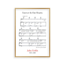 Personalized Funeral Memorial Song Sheet Music Print - Blim & Blum