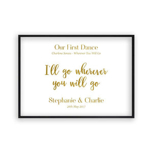 Personalized Gold Foil Wedding Song Lyric Quote Print - Blim & Blum