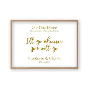 Personalised Gold Foil Wedding Song Lyric Quote Print - Blim & Blum