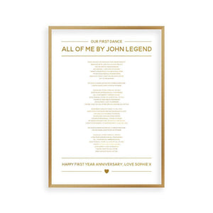 Personalized Gold Foil Wedding Song Lyrics Print - Blim & Blum