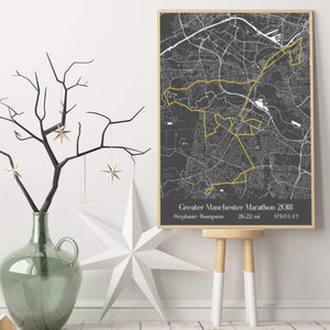 Personalised Greater Manchester Marathon Map Print - Blim & Blum