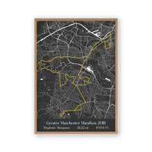 Load image into Gallery viewer, Personalized Greater Manchester Marathon Map Print - Blim & Blum