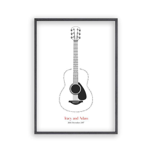 Personalized Guitar Song Lyrics Print - Blim & Blum