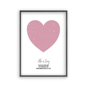 Personalised Heart Star Map Print - Blim & Blum