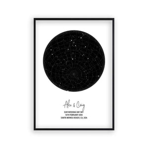 Personalised Star Map Night Sky Print - Blim & Blum