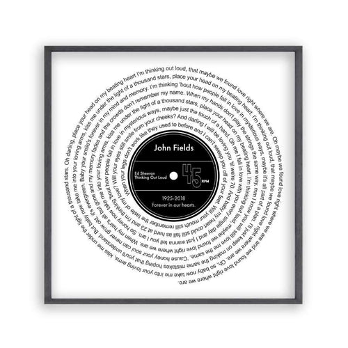 Personalised Memorial Song Music Lyrics Vinyl Print - Blim & Blum