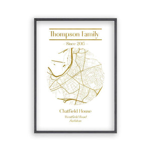 Personalized Metallic Map Print - Blim & Blum
