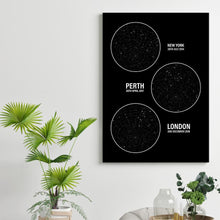 Load image into Gallery viewer, Personalized Star Map Multiple Locations Print - Blim & Blum